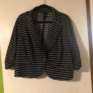 Torrid Black and White Striped Cropped Blazer